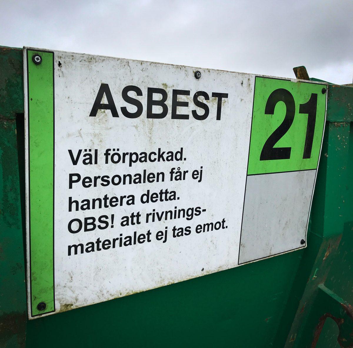 Begränsad mottagning av asbest/eternit